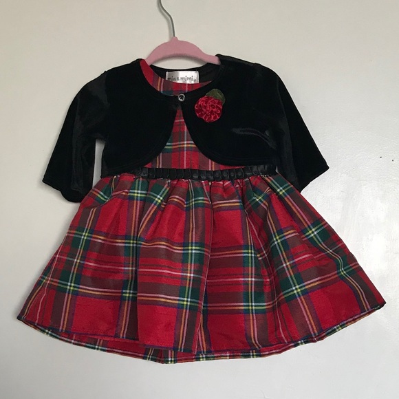Mia & Mimi Holiday Red Plaid Dress with Sweater